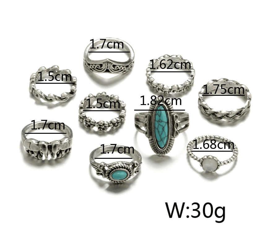 2018เก่าวินเทจช้างบิ๊กหินแหวนแฟชั่นอินฟินิตี้ดอกไม้Midi K Nuckleชุดแหวนสำหรับผู้หญิงเครื่องประดับงบปี9ชิ้น/ล็อต