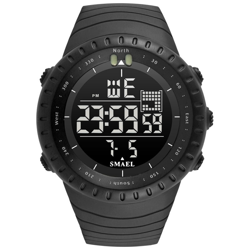 SMAEL 2018 Reloj Hombre Watches Big Dial Digital Watch Man Led Quartz Watches Digital Date 1237 Sport Wrist Watches Stopwatch women watches wen reloj hombre sport high quality boys girls students time clock electronic digital lcd wrist sport watch 2