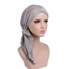 Sombrero turbante fruncido para mujeres musulmanas, bufanda de algodón, gorros de lana para quimioterapia, gorros para quimioterapia, pañuelo para la cabeza, envoltura para la cabeza, pérdida de cabello por cáncer