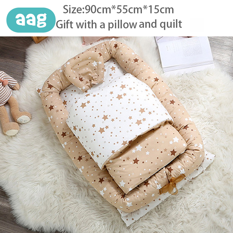AAG Baby Portable Crib Bed Sleeping Bed Cotton Infant Baby Nest Travel Bed Foldable Washable Newborn Mattress Child Cradle Cot *