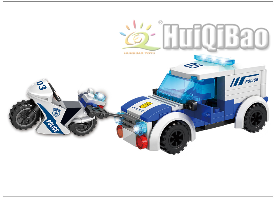 627pcs Bank Model Building Blocks sets with Police Cars Figures Toys Bricks