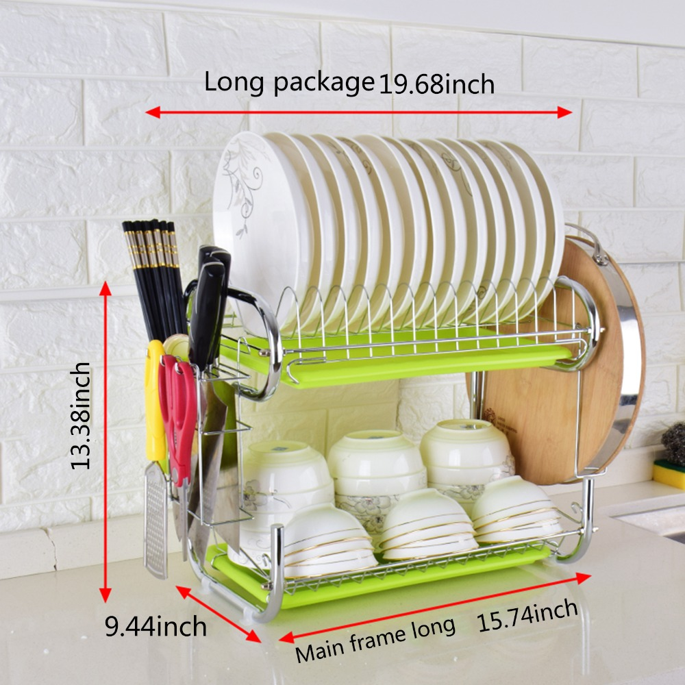 C Shaped 2 Tier Dish Rack Holder Stainless Steel Drying Drainer Dish Cutlery Cup Rack Kitchen Organizer For Kitchen in Storage Holders Racks from Home Garden