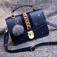 Freies verschiffen, 2017 neue frau handtaschen, trend freizeit umhängetasche, einfache Koreanische version frauen tasche, haar ball ornamente klappe.