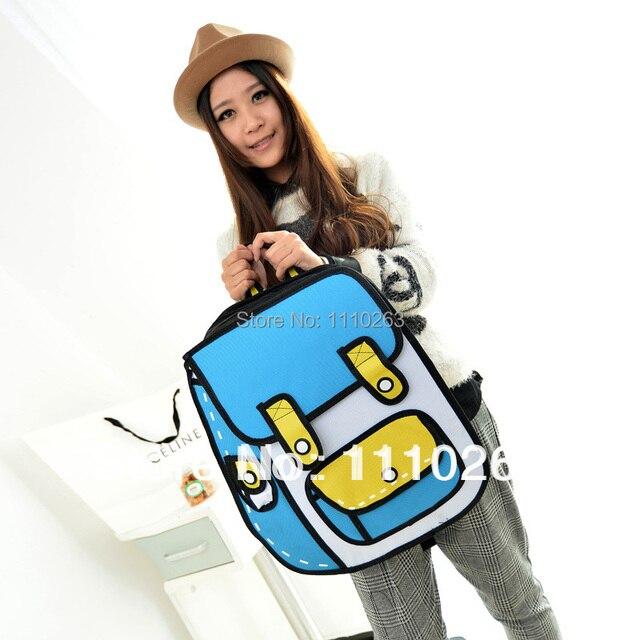 2015 new hot top fashion women one shoulder gismo leisure versatile cartoon bag 2d stereo comic paper messenger 3d real handbag