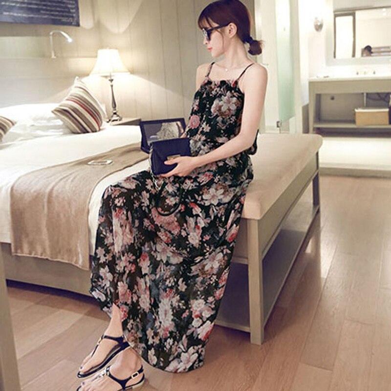 Floral Print Black Beige Chiffon Long Dress Women Strap Sleeveless Beach Summer Dress Sexy Maxi Dresses S-2XL vestidos