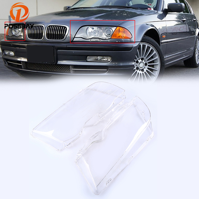 POSSBAY Car Head Light Lenses for BMW 3-Series E46 Sedan/Touring 1998 1999 2000 2001 Pre-facelift Clear Lens Shell Headlamp Case 2pcs polycarbonate headlamp headlight clear lens replacement covers case shell only xenon for bmw 3 e90 sedan e91 touring