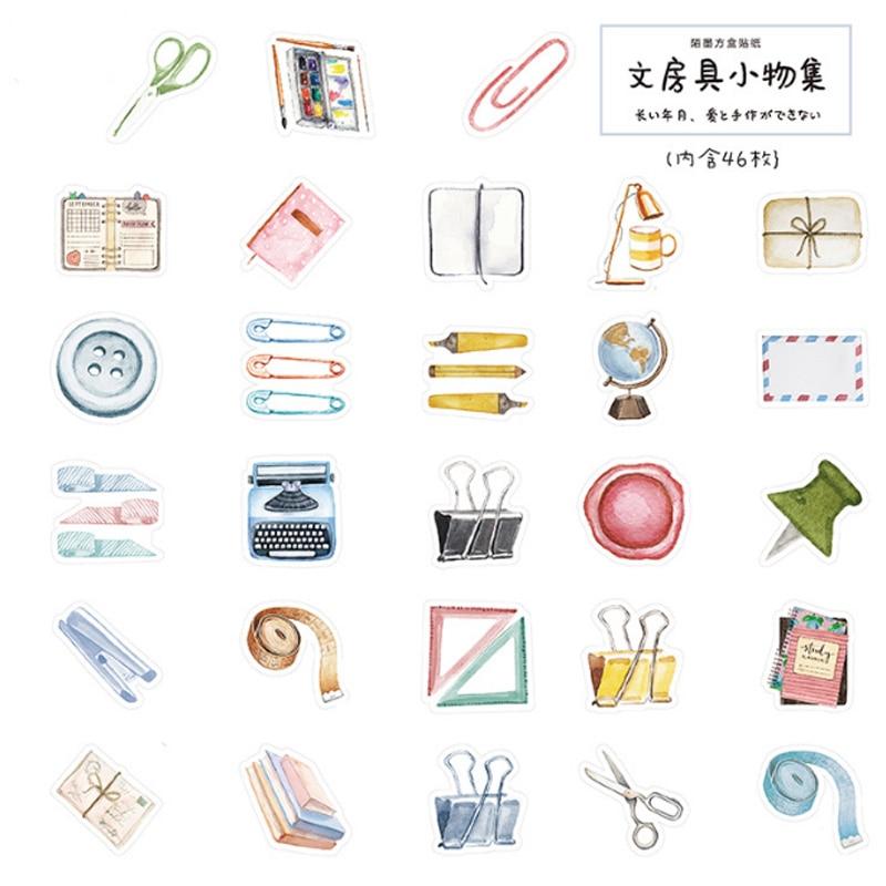 Купить с кэшбэком 46pcs/lot Stationery collection mini paper sticker Decoration DIY Scrapbooking Sticker kawaii diary label sealing stickers