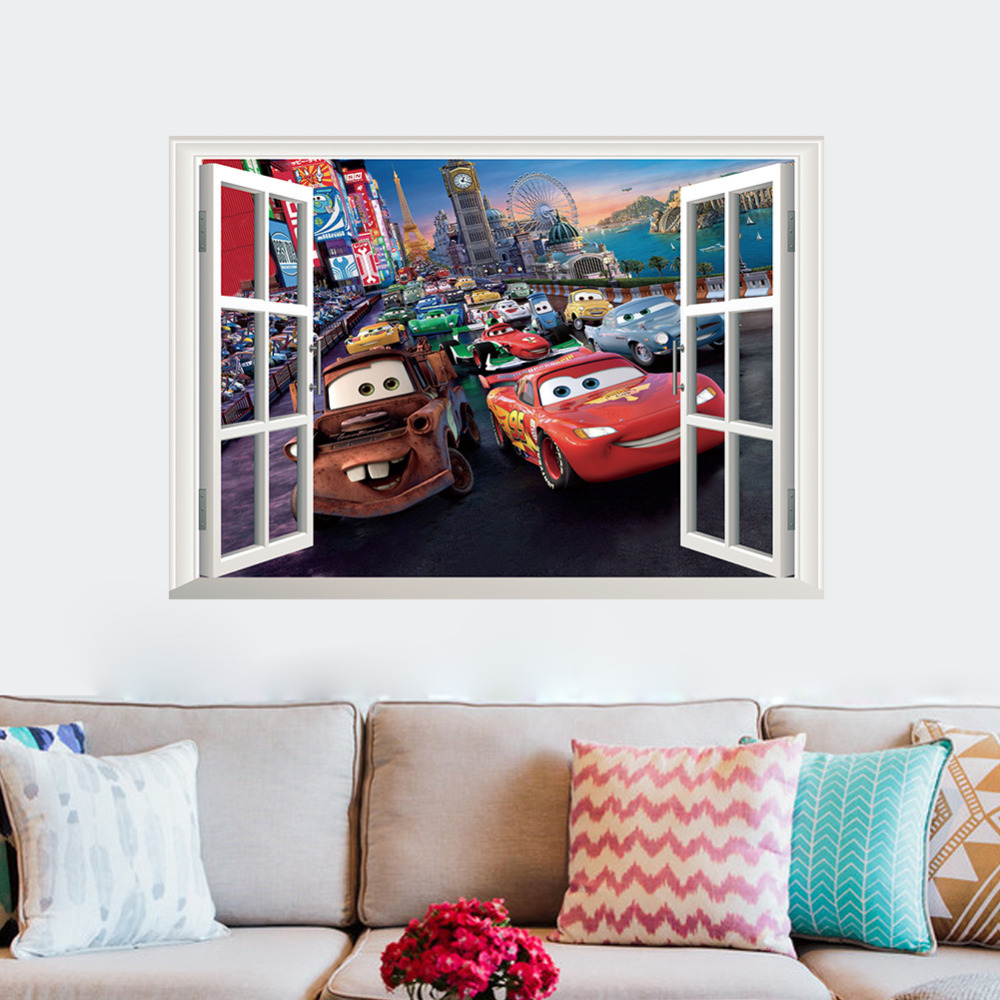 online buy wholesale wall murals nursery from china wall murals movie cars wall stickers for kids rooms decoration children 019 cartoon film movie 3d window room