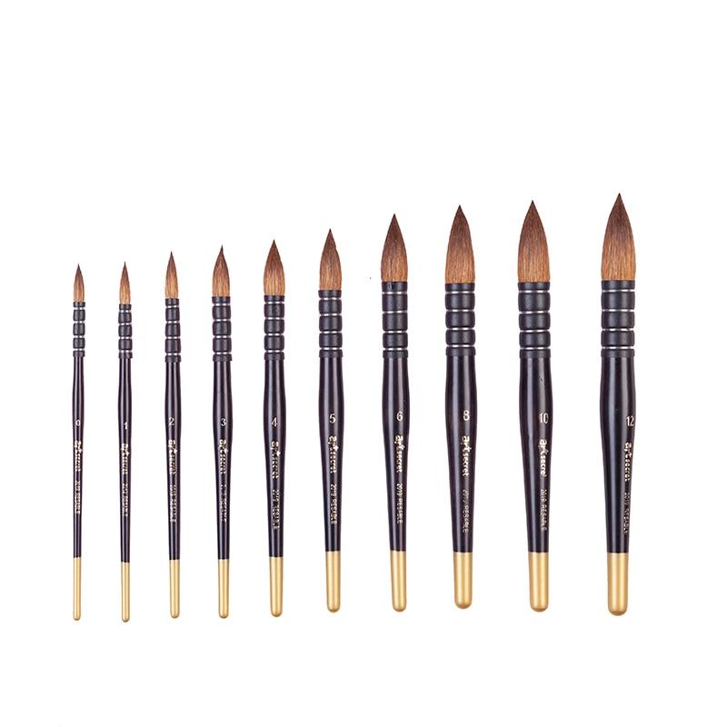 2019Resable Natural Hair Wooden Handle Watercolor Art Brush