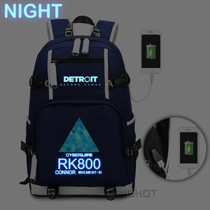 Image 1 - WISHOT Game Detroit: become human Backpack rk800 bag Shoulder travel School Bag USB Charging Laptop bag Luminous bag