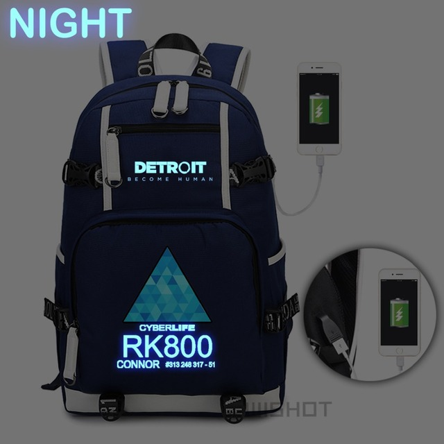 WISHOT Game Detroit: become human Backpack rk800 bag Shoulder travel School Bag USB Charging Laptop bag Luminous bag