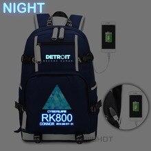 WISHOT Trò Chơi Detroit: trở thành Ba Lô con người rk800 túi Vai túi du lịch Túi Đi Học USB Sạc Máy Tính Xách Tay túi Sáng túi