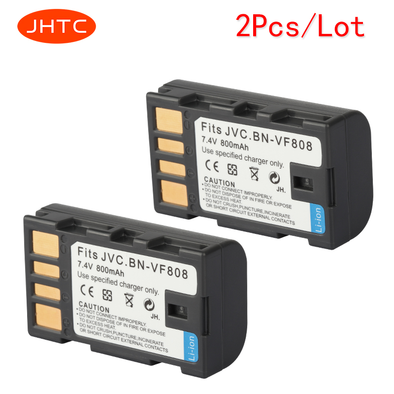 JHTC 2 Pcs/lot 800 mAh BN-VF808, BN-VF808U BN-VF815, BN-VF823 BNVF808 VF808 Décodé Batterie pour JVC GZ-MG130 GZ-MG131 MG132 MG133
