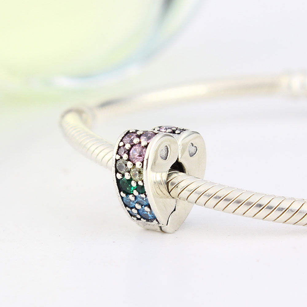 Pave Mix CZ Heart Clip Charm Fits Original Pandora Charms Bracelet 2018 Summer Collection 925 Sterling Silver Beads DIY Jewelry