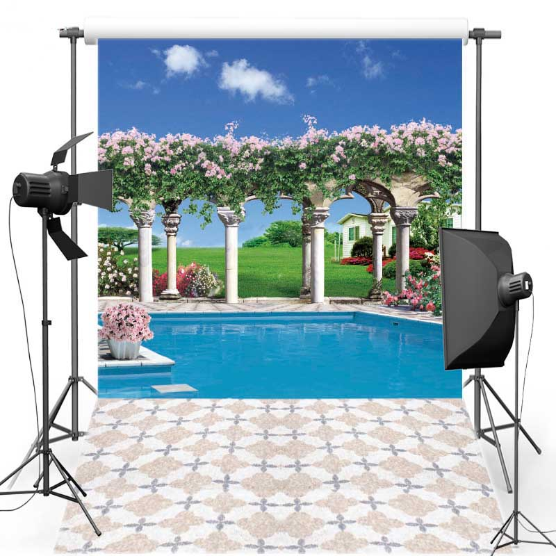 US $9.0 10% OFF Swimming pool Vinyl cloth photography backdrop Garden New  Fabric Polyester background for Wedding photo studio S1794-in Background ...