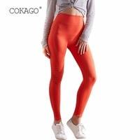 COKAGO Orange Leggings Sport Women Fitness High Waist Gym Shark Women's Yoga Long Pants Push Up Seamless Leggings Trousers Woman
