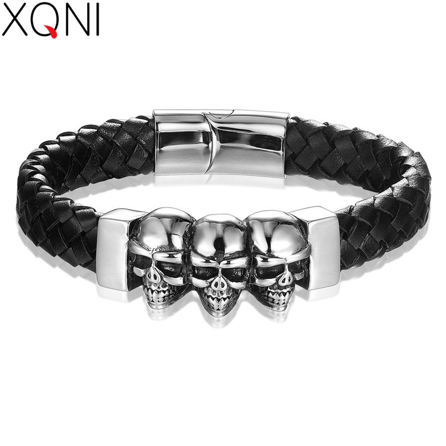 XQNI Punk Style 5 Designs For Choices Geometrically Irregular Graphics Genuine Leather Bracelet For Men Hand Jewelry For Gift