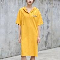 Yichaoyiliang Women Sports Casual Long Hoodie Side Slit Midi Dress Summer Hood T Shirt Dress Knee