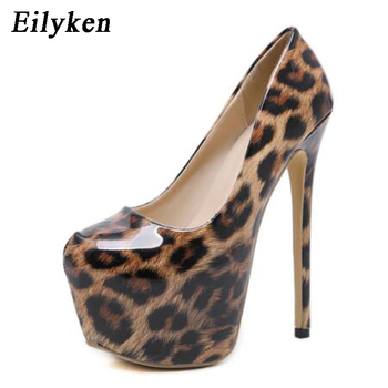 Eilyken Top Quality Leopard Patent Leather Grain Women Shoes Sexy High Heels 2018 Round Toe Party Women Pumps Weeding shoes