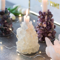 Gemstone Figurine Home Decor Stone Crafts Green/clear Color Candle Holder Natural Stone Decor Gift
