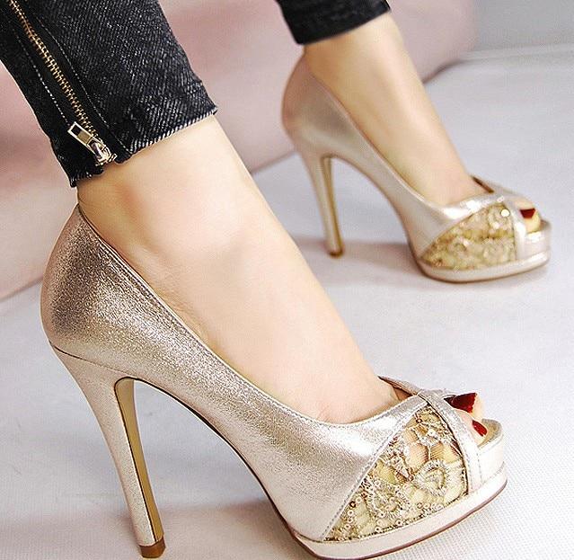 Korean summer new Sexy mesh 11cm thin high heels peep toe pumps with platform sequin glitter sandals female PU gold black  shoes