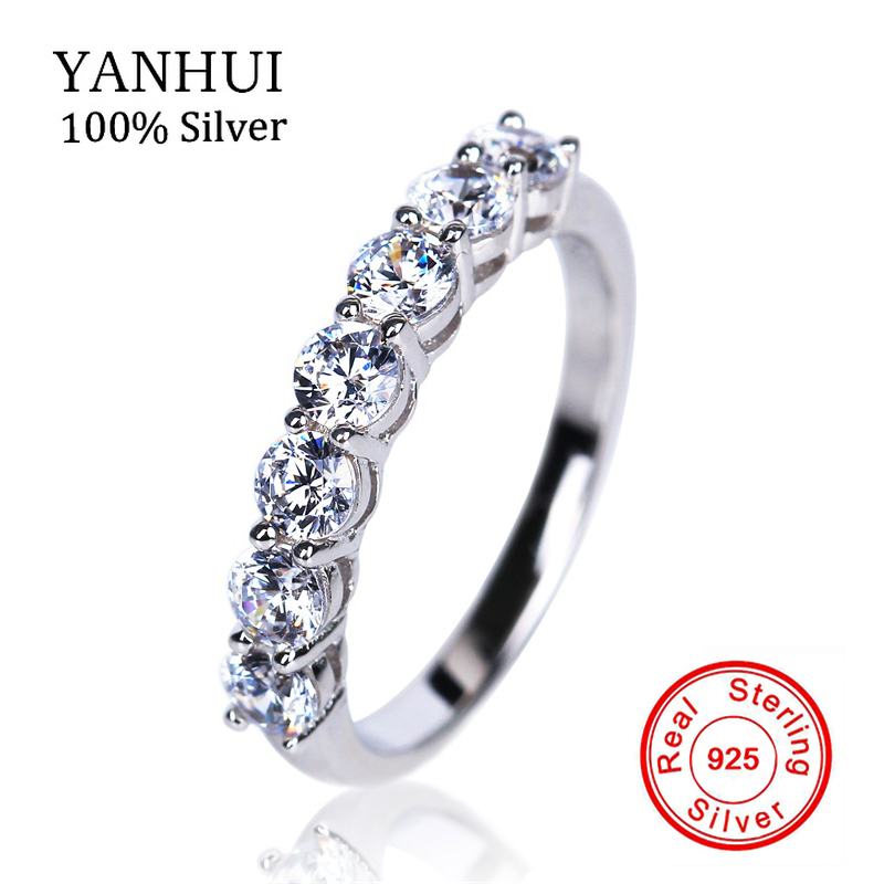 YANHUI original Solid Pure Silver Rings for Women Set 5A Cubic Zircon CZ Ring 925 Sterling Silver Wedding Ring Fine Jewelry R144
