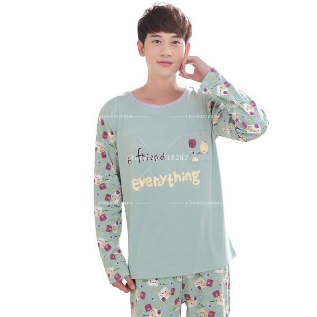 Otoño primavera de Manga Larga de Algodón de Dibujos Animados Pijamas Sexy ropa de Dormir de Los Hombres Lindo Homewear Loungewear Pijamas Parejas de Los Hombres Gay