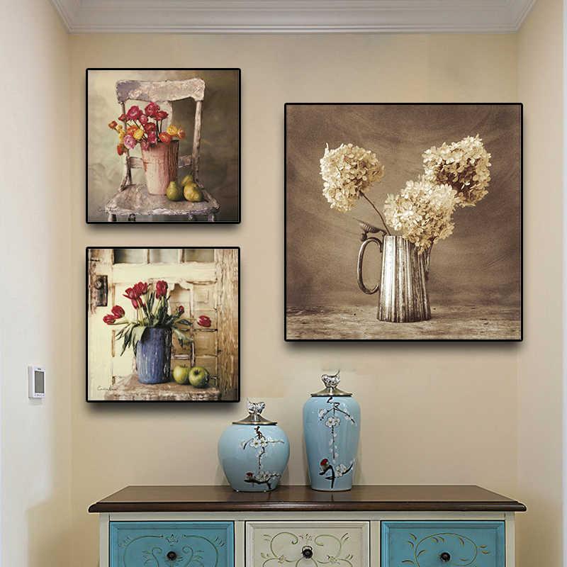 Vintge Obst Blume Poster und Drucke Tulpen Ölgemälde auf Leinwand Skandinavischen Wand Pop-Art Bild Küche Zimmer Kaffee Decor