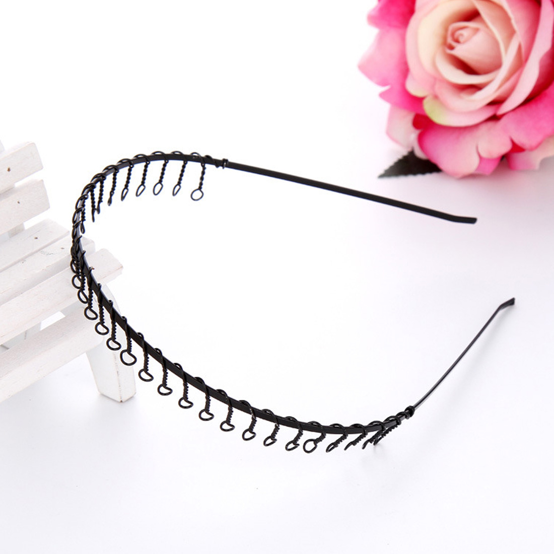 New Fashion Metal Wire Comb Football Sports Alice Band Hair Headband Black high quality