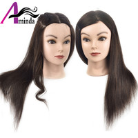 100Human Hair Mannequin Training Head With Holder Stand Manikin Styling Head For Salon Hairdressing Practice Model