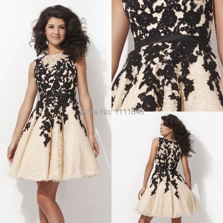 92842f968d4 Modest Sleeveless Black Lace Graduation Dresses 2014 Appliques Custom Made  Mini Cocktail Dresses Party vestido de festa