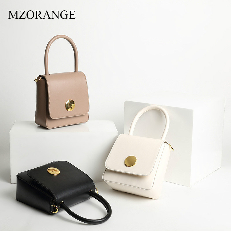 MZORANGE 100% Genuine Leather Women Flap Fashion Handbags 2018 Metal Round Buckle Small Shoulder Bag Lady Elegant Crossbody Bags haggard h r queen sheba s ring