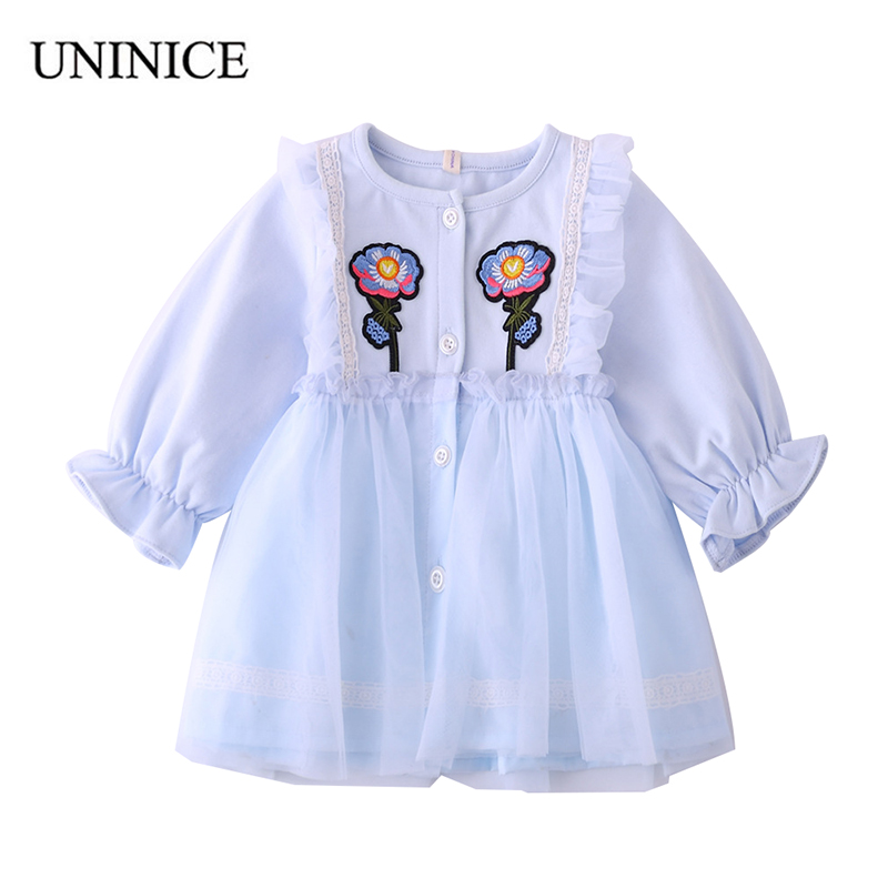 UNINICE Embroidery Flower Baby Girls Dress New Spring Mesh Lace Petal Sleeve Dress Toddler Girls Dress Infant Kids Clothes lace detail flower embroidery velvet cami dress