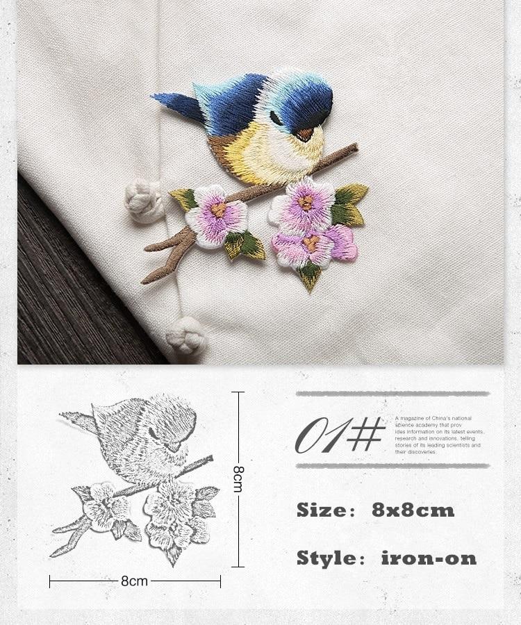 HGHYM Aves Parches Bordados Flores 8x8 cm Coser Apliques De Hierro ...