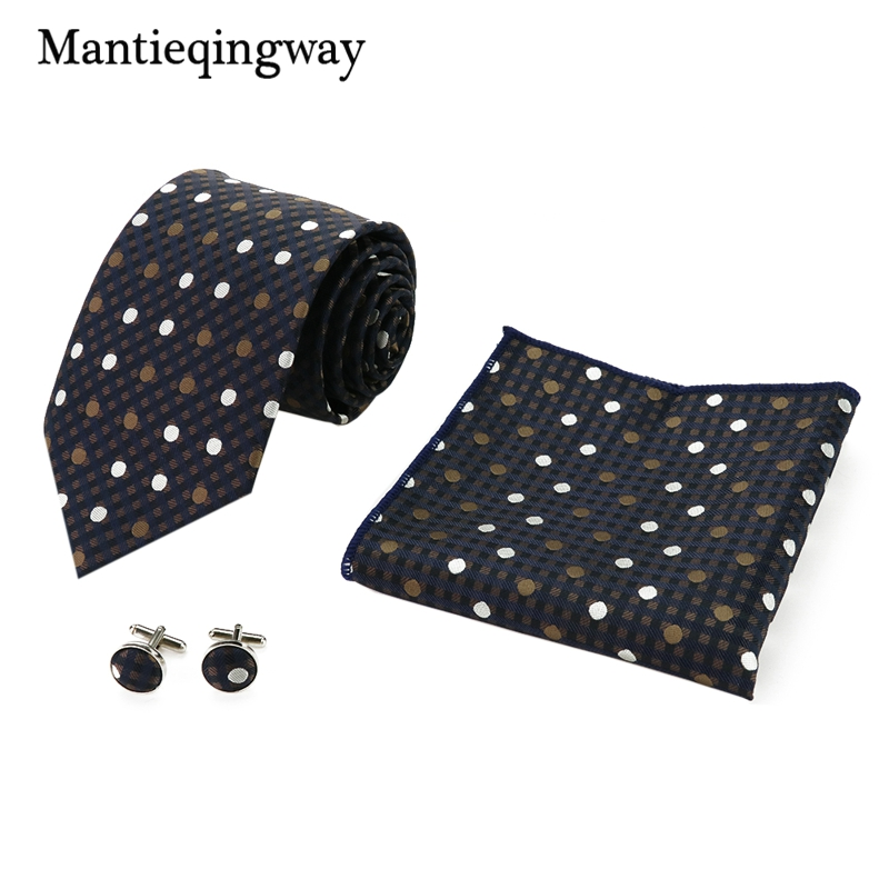 Mantieqingway Mens Accessories Business 8.5cm Neck Tie 24*24cm Hanky 1.5*1.5cm Cufflinks Set Polyester Jacquard Dots Gravatas