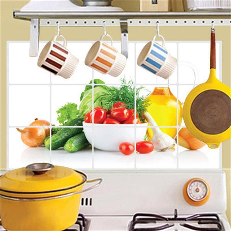 Nova 3D DIY oljna kuhinja Nalepka za stene Zeleno Sadje Freska - Dekor za dom - Fotografija 2