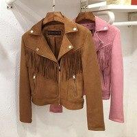 2016 Basic Suede Jacket Coat Fashion Lapel Zipper Motorcycle Leather Jacket Women Outwear Pink Belted Short