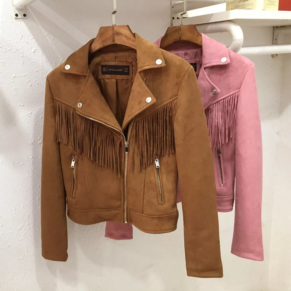 basic suede jacket coat Fashion Lapel Zipper motorcycle faux Leather jacket Women autumn Pink Zipper short jackets