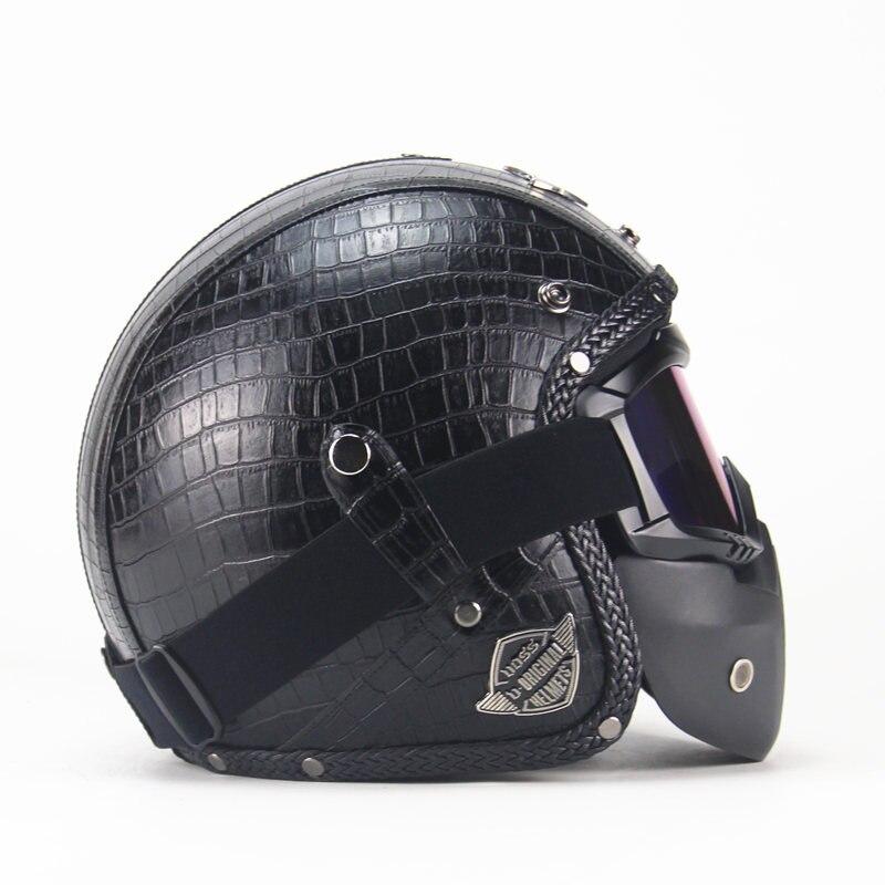 Винтажные ПУ кожаные шлемы маска Съемные очки и рот фильтр идеально подходит для открытого лица Мотоцикл половина шлем черный