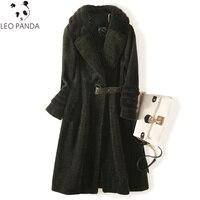 Высококачественное пальто из натурального меха, зимняя куртка, женская одежда 2018, винтажное шерстяное пальто, норковый меховой воротник, ов