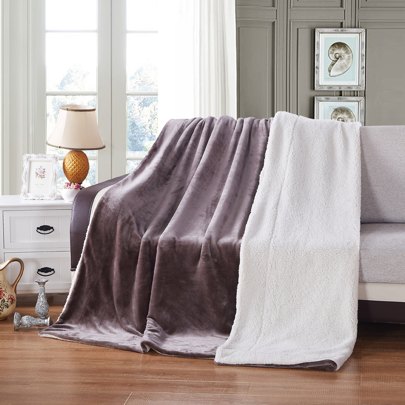 Brand 2 Layers Sherpa Blankets Christmas Gift Warm Coffee white Berber Fleece Blanket on the Bed coperta Throws for Sofa