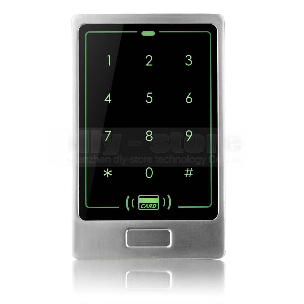 DIYSECUR 125KHz RFID Card Reader Touch Panel Backlight Metal Case Password Keypad For Access Control System Kit C20 metal rfid em card reader ip68 waterproof metal standalone door lock access control system with keypad 2000 card users capacity
