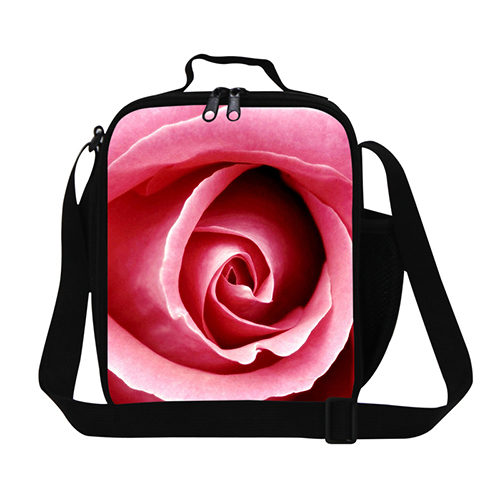 New large Insulated lunch picnic bag for women flower print lunch bags for kids cute thermal shoulder lunch bag for girls