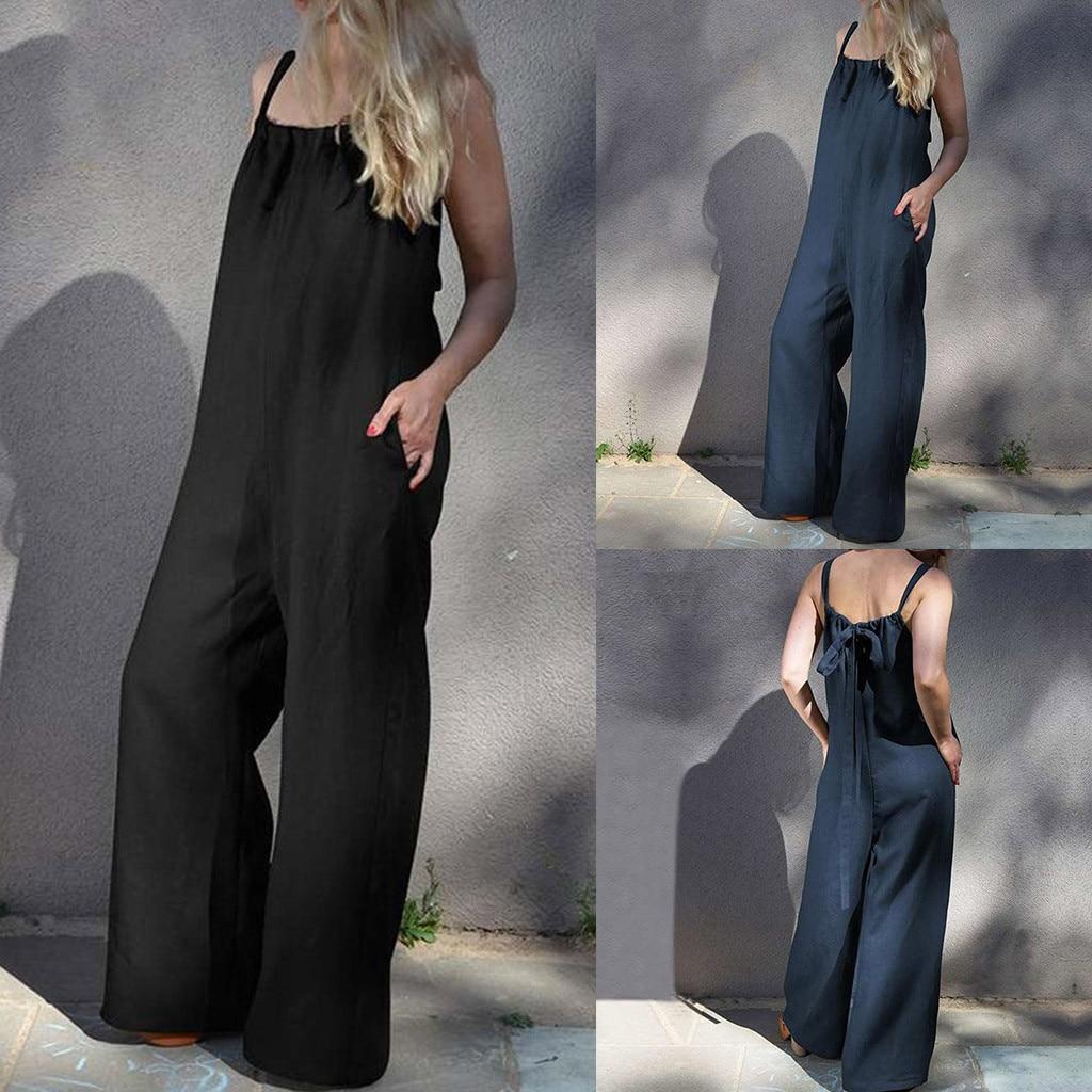 Women Summer Loose Bib Pants   Jumpsuit   Romper Female Plus Sleeveless no back casual wide leg pants   jumpsuit   enterizos for mujer