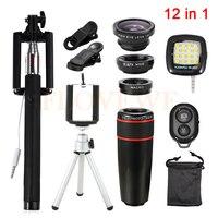 12in1 8x Zoom Telephoto Lens Fisheye Lenses Wide Angle Macro Lentes Tripod Clip Selfie Flash Light