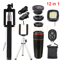 12in1 8x Zoom Telephoto Lens Fisheye Lenses Wide Angle Macro Lentes Tripod Clip Selfie Flash Light
