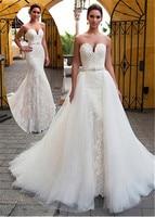 Очаровательное милое декольте 2 в 1 Бисероплетение створки свадебное платье с кружевной аппликацией Русалка свадебное платье Съемная юбка