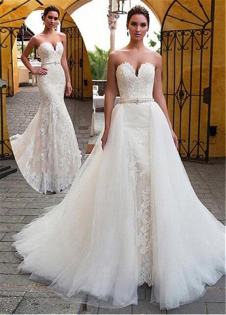 رائعة فستان زفاف بصدر مفتوح 2 في 1 الديكور شاح فستان الزفاف مع الدانتيل يزين حورية البحر فستان الزفاف انفصال تنورة