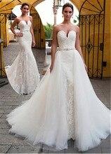 Vestido de novia fajín con cuentas 2 en 1 escote encantador, con apliques de encaje, vestido de novia corte sirena, falda desmontable