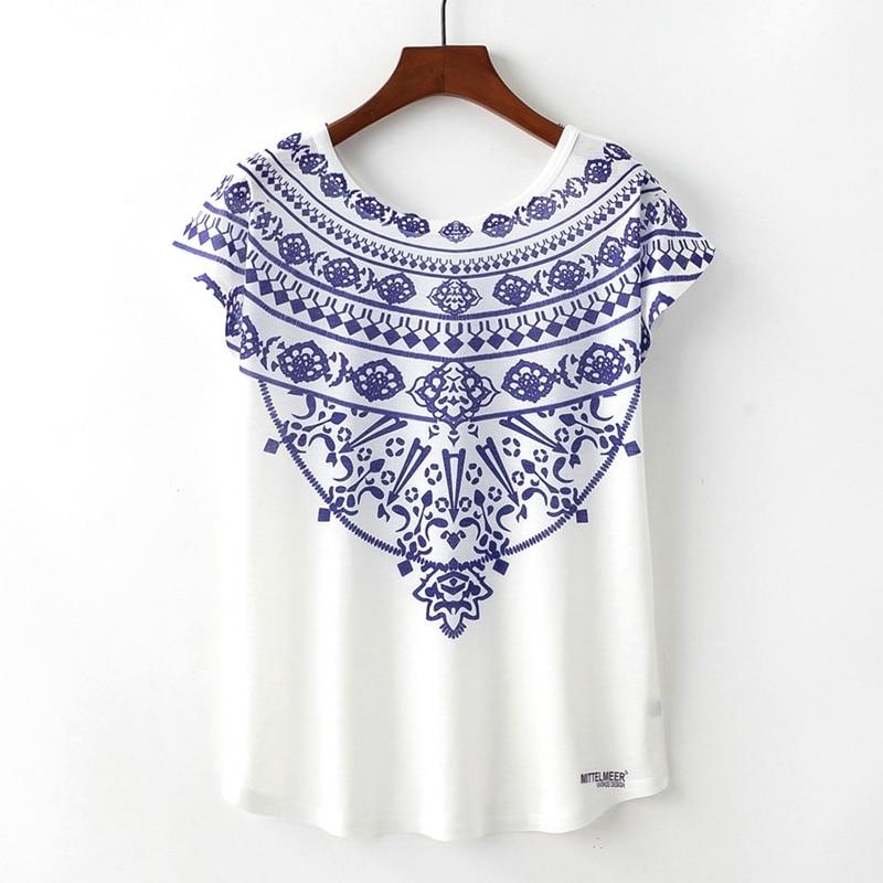 KaiTingu Spring Summer Women   T     Shirt   Novelty Harajuku Kawaii Blue White Porcelain Print   T  -  shirt   Short Sleeve Tops Size M L XL